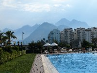 The grounds of our hotel in Antalya - in the shadow of stunning mountain ranges. This photo was taken at about 7pm.