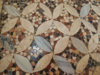A close-up of the mosaic tiled floor of the Church of St. Nicholas - Demre.
