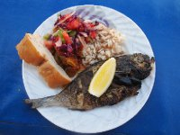 Beautiful fish lunch - prepared by our Captain Hassan and his wife.