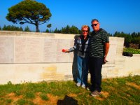 Red and Anne alongside the Memorial Wall at Lone Pine Cemetery - Gallipoli.