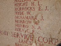 The name of Private Albert Morrow on the Memorial Wall at Lone Pine Cemetery at Gallipoli.
