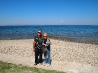 Annd and Red on the beach at Anzac Cove - a beautifully peaceful place now.