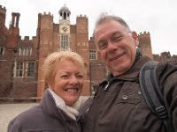 A selfie - outside the entrance to Hampton Court Palace.