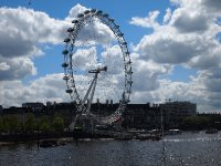 The London Eye bathed in sunshine.