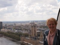 Anne on the London Eye - brilliant view of the Houses of Parliament.