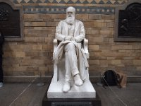 A sculpture of Charles Darwin - overlooking the main hall of the Natural History Museum.