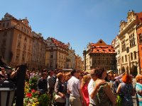 Crowds watching the Astronomical Clock in the Old Town Square - Prague.