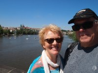 Selfie - Anne and Red overlooking the beautiful Vltava River - Prague.