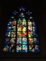 Exquisite leadlight window in St. Vitus Cathedral - Prague.