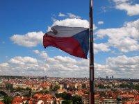 The Czech flag flying over Prague.
