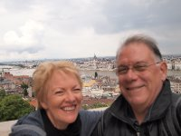 Selfie - taken from the Fishermans Bastion. In between our heads - the Parliament Building.