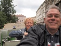 Selfie - driving up Andrassy Avenue on top of a bus!