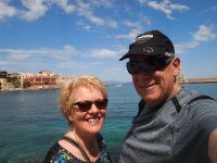 Selfie - Red and Anne on the Promenade at Chania.