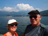 Selfie on Lake Como - Bellagio is in the background.