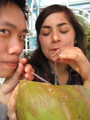 Me and Natasha sharing a coconut