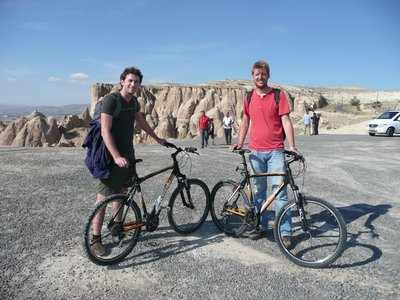 Henk and me reaching viewpoint by mountain bike