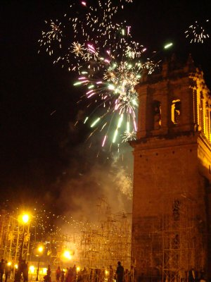 Fireworks in Plaza de Armas (we´re pretty sure these were for us finishing the Inca Trail...that or Day of the Dead)