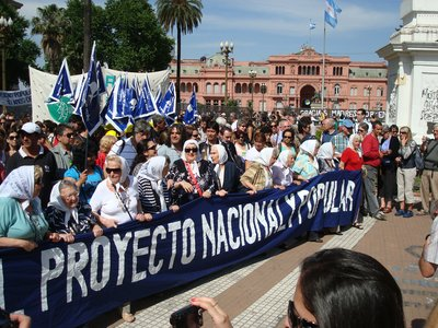 The Mothers of Plaza de Mayo marching as they do every Thursday in remembrance of those who disappeared (were killed) by the military government between '76 and ´82