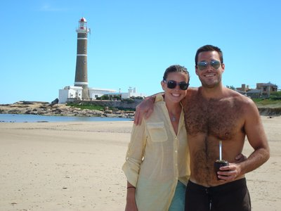 Brother and sister and the Jose de Ignacio lighthouse