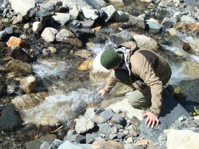 Drinking glacial water