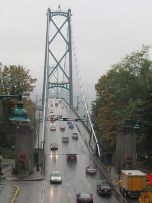 Lions gate bridge connects Vancouver with North and West Vancouver
