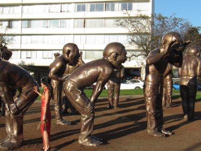 Laughing statues at English Bay