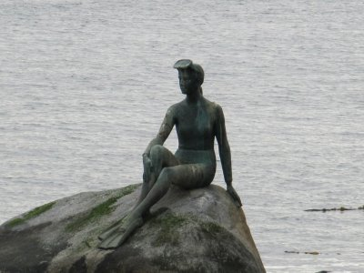 Girl in a wetsuit based on Little Mermaid statue in Denmark (must tell Danny about Copenhagen sometime)