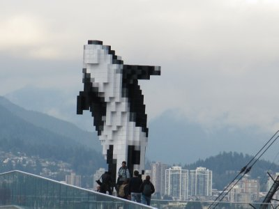 The Lego whale sculpture