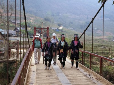 G&G on the bridge with the Hmong girls