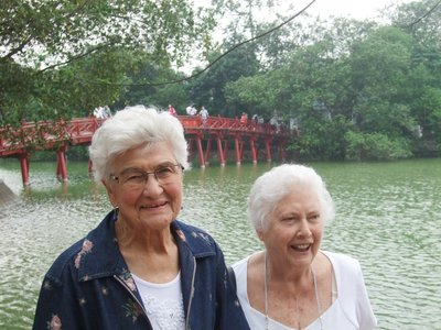 Eileen and Val at Ngoc Son, Hoan Kiem Lake