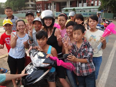 Very excitable kids in Ha Giang at the end of our trip