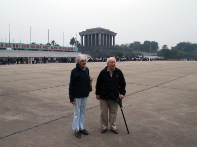 In front of Ho Chi Minh's mausoleum