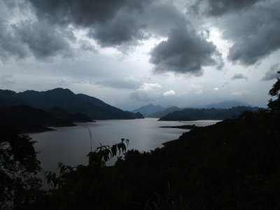 Limestone hills around the lake at Mai Chau