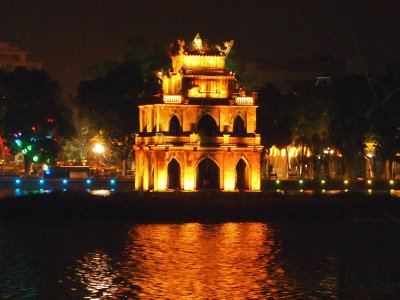 Tortoise Tower, Hoan Kiem lit up for Tet