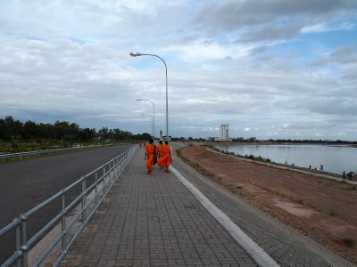 "The recently completed ""promenade"" in Vientiane along the Mekong banks."