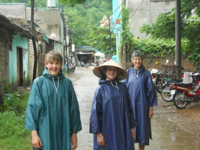 Sam,Daisy and Amanda in Vietnamese wet weather gear