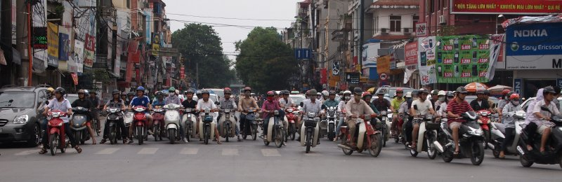 The traffic coming towards us at the lights in S Hanoi:  we were turning left on our motorbike