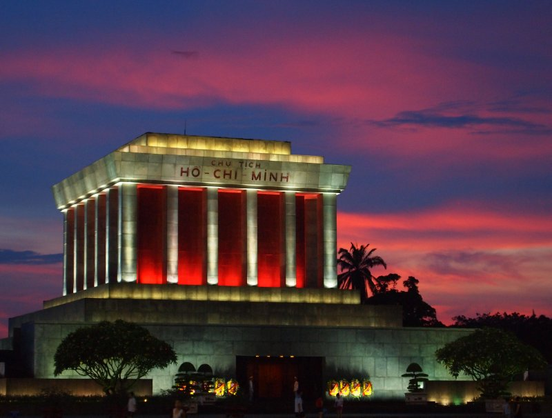 Ho Chi Minh's mausoleum at sunset in June