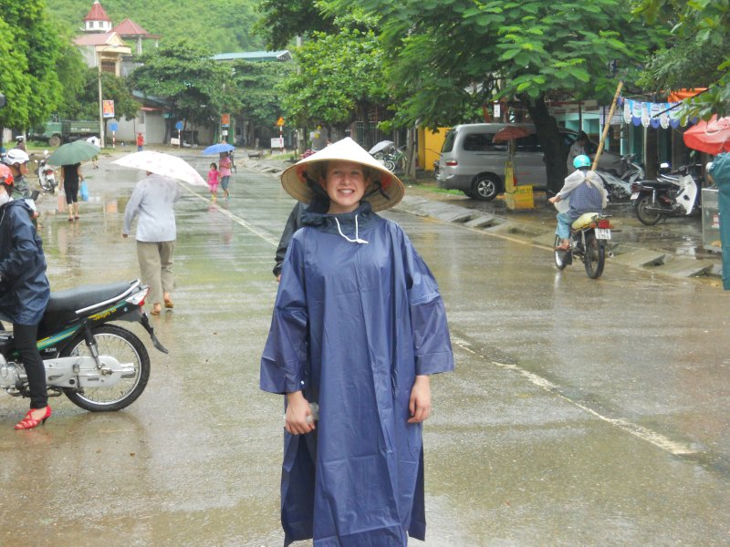 Daisy in true Vietnamese rainy season gear