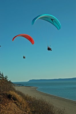 Parasailers over Bay of Fundy