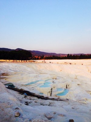 Travertine Terraces filled with Aqua Blue water