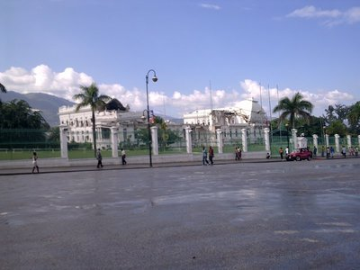 The Presidential Palace is still in ruins