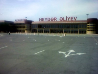 Baku Airport, flying to Naxcivan, hometown of President Haydar Aliyev, here written in Azeri alphabet