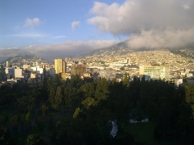 To Galapagos, all flights leave from Quito (here view from Hilton): 4h with a fuel-stop in Guayaquil...