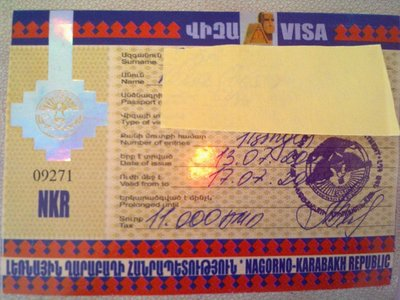 Nagorno-Karabakh Republic. One of the few cases where you can get the visa downtown after entering the country.
