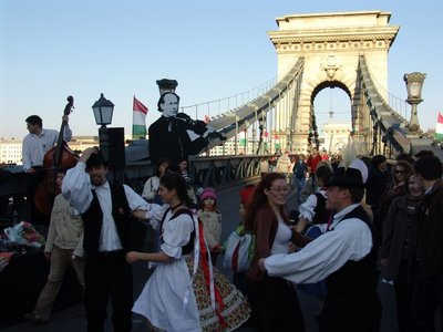 Celebrations on Széchenyi Chain Bridge