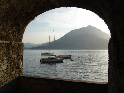Framed view of Lake Como