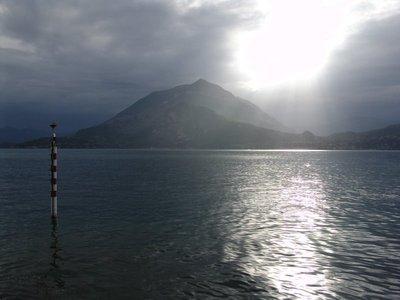 Sun streaking across Lago di Como