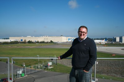 Paul at the Boeing factory tour (this was a close as we were allowed with cameras!)