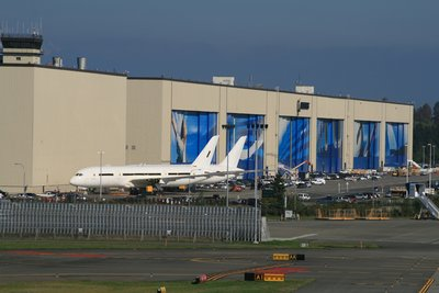 The front of the Boeing Factory taken with a zoom lens. Note the new 787 'Dreamliners' parked outside